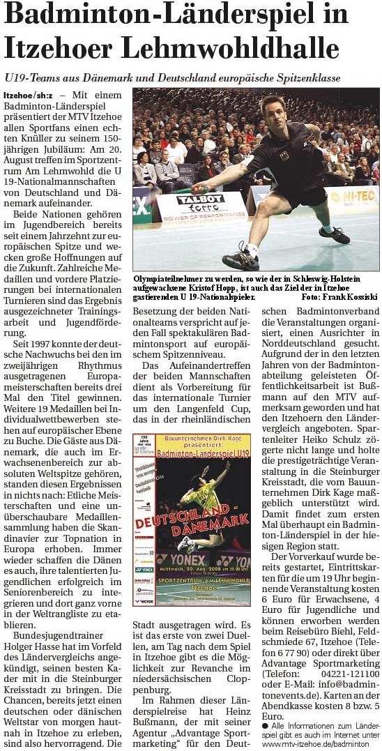 Norddeutsche Rundschau am 07.08.2008