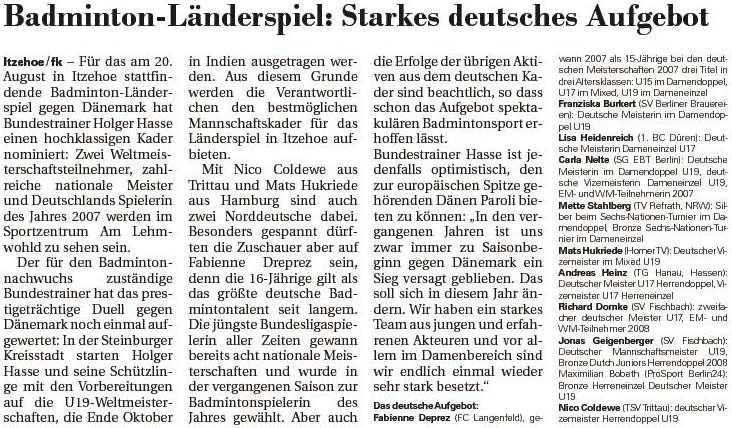 Norddeutsche Rundschau am 14.08.2008