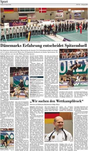 Norddeutsche Rundschau am 22.08.2008, Zur Vergrößerung des Zeitungsartikels bitte anklicken!